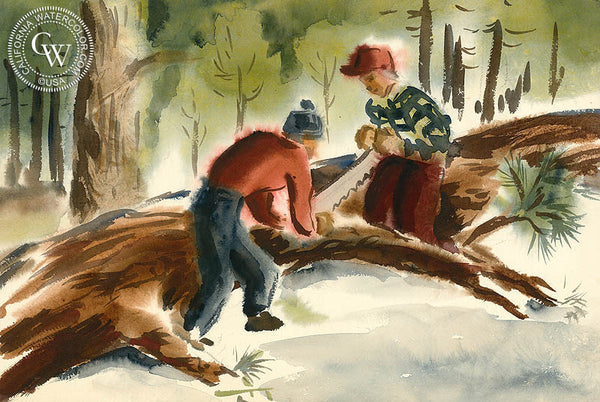 Big Bear Log Cutters, 1948, art by Duval Eliot, California artist, Californiawatercolor.com