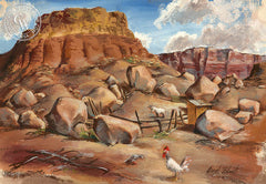 Desert Cliffs, 1950, art by Duval Eliot, California artist, Californiawatercolor.com