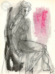 Figurative Nude #6, art by Duval Eliot, California artist, Californiawatercolor.com