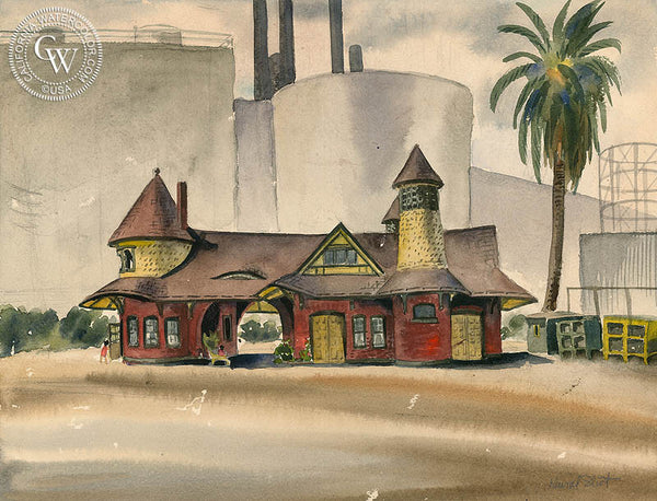 Lamanda Park, 1948, art by Duval Eliot, California artist, Californiawatercolor.com
