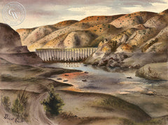 Little Rock Dam, 1947, art by Duval Eliot, California artist, Californiawatercolor.com