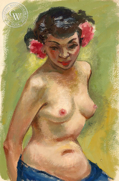 Nude with Red Flowers, 1949, art by Duval Eliot, California artist, Californiawatercolor.com