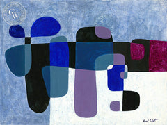 Still Life Abstract in Blue, art by Duval Eliot, California artist, Californiawatercolor.com