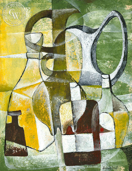 Still Life Abstract in Green and Yellow, art by Duval Eliot, California artist, Californiawatercolor.com