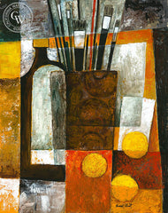 Still Life Abstract in Red and Yellow, art by Duval Eliot, California artist, Californiawatercolor.com