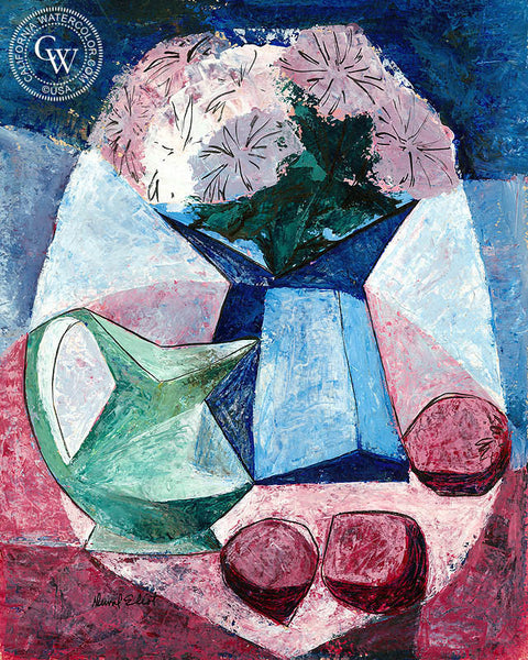 Still Life Abstract in Pink and Blue, art by Duval Eliot, California artist, Californiawatercolor.com