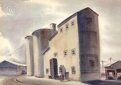 Storage Towers, San Joaquin Valley, 1936, art by Duval Eliot, California artist, Californiawatercolor.com