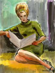 Studying, art by Duval Eliot, California artist, Californiawatercolor.com