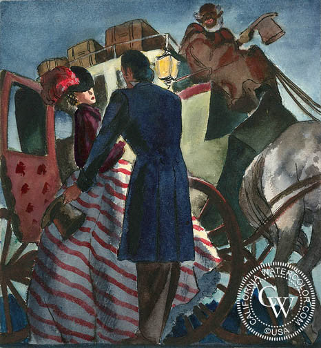 The Waiting Carriage, 1940, art by Duval Eliot, California artist, Californiawatercolor.com