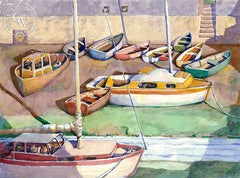 Dwight Strong - Boats on the Beach, California artist. Original watercolor art for sale, giclee art print for sale - californiawatercolor.com