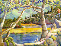 Dwight Strong - Lake Lagunitas, California artist. Original watercolor art for sale, giclee art print for sale - californiawatercolor.com