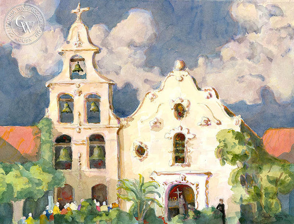 Dwight Strong - Mission San Diego, California artist. Original watercolor art for sale, giclee art print for sale - californiawatercolor.com