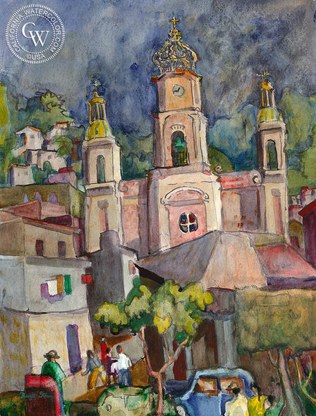 Dwight Strong - Puerto Vallarta, Zocalo, Mexico, California artist. Original watercolor art for sale, giclee art print for sale - californiawatercolor.com