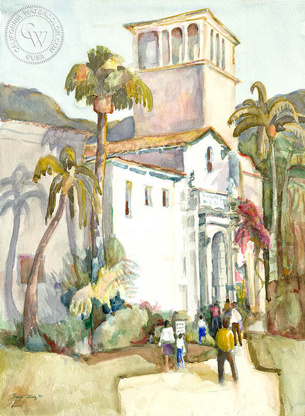 Santa Barbara City Hall, 2001, by Dwight Strong. A California watercolor painting. California artist. Original watercolor art for sale, giclee art print for sale - californiawatercolor.com