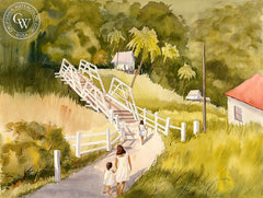 Afternoon Walk, Hawaii, California art by Ed Kelly. HD giclee art prints for sale at CaliforniaWatercolor.com - original California paintings, & premium giclee prints for sale
