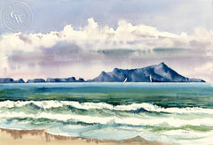 Anacapa Islands, CA, California art by Ed Kelly. HD giclee art prints for sale at CaliforniaWatercolor.com - original California paintings, & premium giclee prints for sale