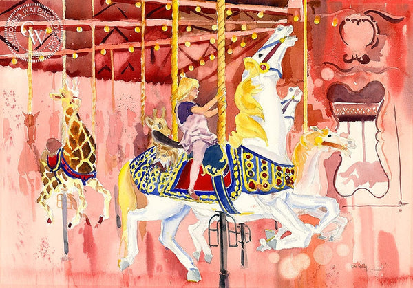 Seaport Village Carousel, California art by Ed Kelly. HD giclee art prints for sale at CaliforniaWatercolor.com - original California paintings, & premium giclee prints for sale