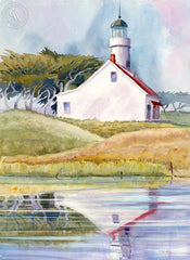 Carmel Lighthouse, California art by Ed Kelly. HD giclee art prints for sale at CaliforniaWatercolor.com - original California paintings, & premium giclee prints for sale