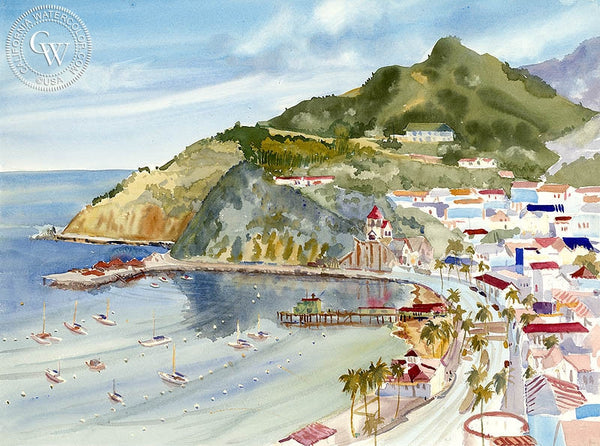 Catalina Island, California art by Ed Kelly. HD giclee art prints for sale at CaliforniaWatercolor.com - original California paintings, & premium giclee prints for sale
