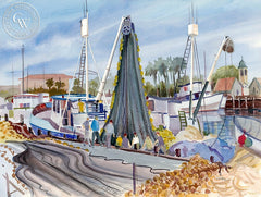 Days End, San Pedro Harbor, California art by Ed Kelly. HD giclee art prints for sale at CaliforniaWatercolor.com - original California paintings, & premium giclee prints for sale