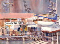 Long Beach Harbor, California art by Ed Kelly. HD giclee art prints for sale at CaliforniaWatercolor.com - original California paintings, & premium giclee prints for sale