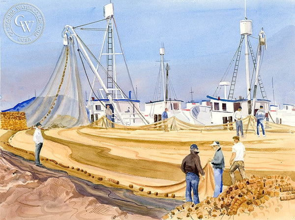 Mending Nets, San Pedro Harbor, California art by Ed Kelly. HD giclee art prints for sale at CaliforniaWatercolor.com - original California paintings, & premium giclee prints for sale