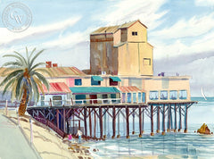 Monterey Pier, California art by Ed Kelly. HD giclee art prints for sale at CaliforniaWatercolor.com - original California paintings, & premium giclee prints for sale