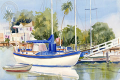Newport Beach, Balboa Island, California art by Ed Kelly. HD giclee art prints for sale at CaliforniaWatercolor.com - original California paintings, & premium giclee prints for sale