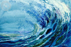 Ocean Wave Spray, California art by Ed Kelly. HD giclee art prints for sale at CaliforniaWatercolor.com - original California paintings, & premium giclee prints for sale