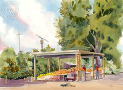Orange Farm, Hemet, CA, California art by Ed Kelly. HD giclee art prints for sale at CaliforniaWatercolor.com - original California paintings, & premium giclee prints for sale