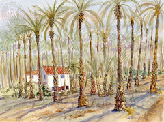 Palm Desert Date Farm, California art by Ed Kelly. HD giclee art prints for sale at CaliforniaWatercolor.com - original California paintings, & premium giclee prints for sale