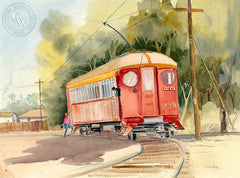 Redlands Trolley, California art by Ed Kelly. HD giclee art prints for sale at CaliforniaWatercolor.com - original California paintings, & premium giclee prints for sale