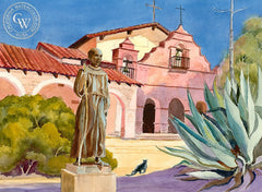 Mission San Antonio de Padua, California art by Ed Kelly. HD giclee art prints for sale at CaliforniaWatercolor.com - original California paintings, & premium giclee prints for sale