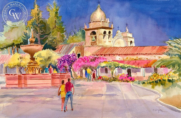 San Carlos Borromeo, Carmel Mission, California art by Ed Kelly. HD giclee art prints for sale at CaliforniaWatercolor.com - original California paintings, & premium giclee prints for sale