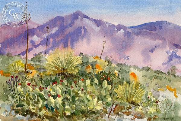 San Gabriel Canyon, CA, California art by Ed Kelly. HD giclee art prints for sale at CaliforniaWatercolor.com - original California paintings, & premium giclee prints for sale