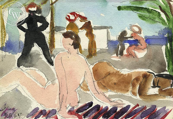 Bathers, 1967, California art by Elmer Bischoff. HD giclee art prints for sale at CaliforniaWatercolor.com - original California paintings, & premium giclee prints for sale