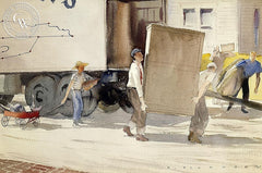 Moving Day, 1935, California art by Elmer Plummer. HD giclee art prints for sale at CaliforniaWatercolor.com - original California paintings, & premium giclee prints for sale