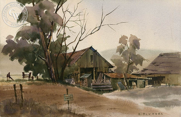 Private Property, California art by Elmer Plummer. HD giclee art prints for sale at CaliforniaWatercolor.com - original California paintings, & premium giclee prints for sale