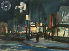 Wilshire Boulevard at Night, a California watercolor painting by Emil Kosa Jr.. HD giclee art prints for sale at CaliforniaWatercolor.com - original California paintings, & premium giclee prints for sale