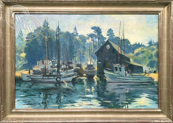 Emil Kosa Jr. - Boat Harbor, Fort Bragg, c. 1940's, an original California oil painting for sale, original California art for sale - CaliforniaWatercolor.com