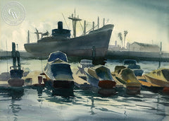 Boats, San Pedro Harbor, 1946, California art by Emil Kosa Jr.. HD giclee art prints for sale at CaliforniaWatercolor.com - original California paintings, & premium giclee prints for sale