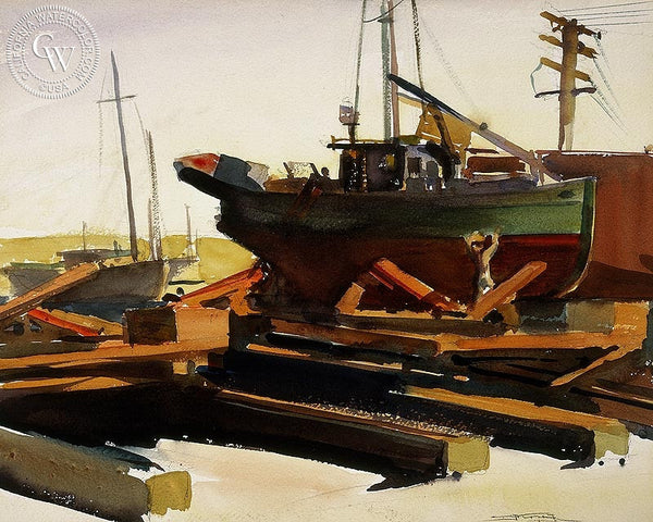 Boatyard, California art by Emil Kosa Jr.. HD giclee art prints for sale at CaliforniaWatercolor.com - original California paintings, & premium giclee prints for sale