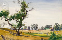 Farm Scene, c. 1942, California art by Emil Kosa Jr.. HD giclee art prints for sale at CaliforniaWatercolor.com - original California paintings, & premium giclee prints for sale