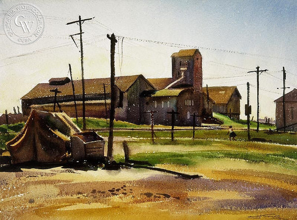 Granary, 1939, California art by Emil Kosa Jr.. HD giclee art prints for sale at CaliforniaWatercolor.com - original California paintings, & premium giclee prints for sale