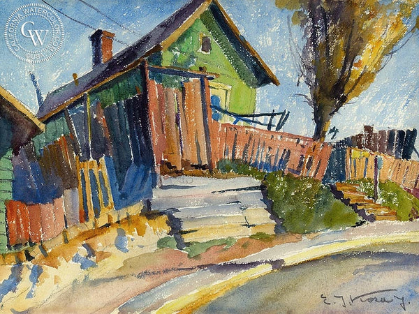 House on Bunker Hill, California art by Emil Kosa Jr.. HD giclee art prints for sale at CaliforniaWatercolor.com - original California paintings, & premium giclee prints for sale