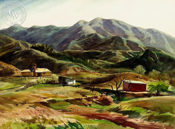 Majesty of Hills, California art by Emil Kosa Jr.. HD giclee art prints for sale at CaliforniaWatercolor.com - original California paintings, & premium giclee prints for sale