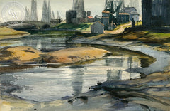 Oil Pond Near Playa Del Rey, c. 1930's, California art by Emil Kosa Jr.. HD giclee art prints for sale at CaliforniaWatercolor.com - original California paintings, & premium giclee prints for sale