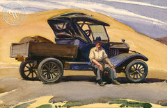 Out of Gas, c. 1940, California art by Emil Kosa Jr.. HD giclee art prints for sale at CaliforniaWatercolor.com - original California paintings, & premium giclee prints for sale