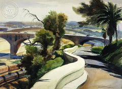 Romantic Bridges, 1948, California art by Emil Kosa Jr.. HD giclee art prints for sale at CaliforniaWatercolor.com - original California paintings, & premium giclee prints for sale