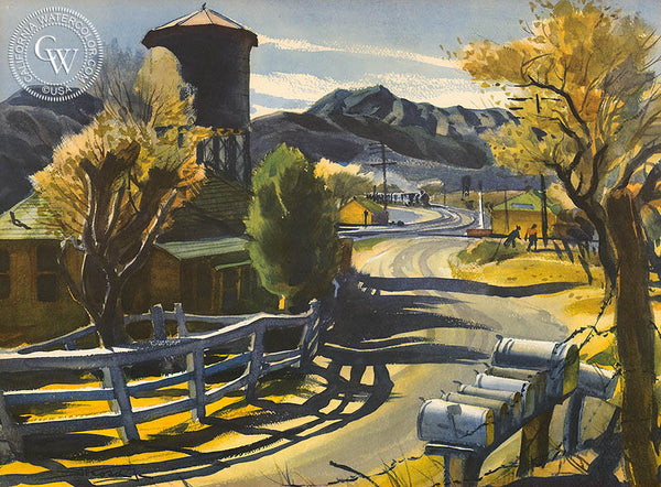 Junction at Acton, a limited edition lithograph by Emil Kosa Jr.. Rare vintage art print for sale at CaliforniaWatercolor.com - original California paintings, & premium giclee prints for sale